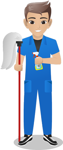 A drawing of a man with cleaning items