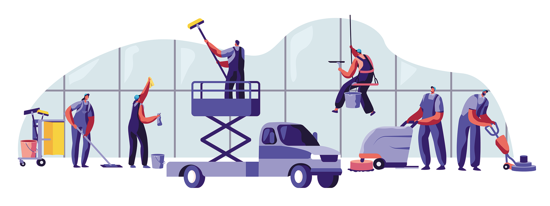 A drawing of several individuals cleaning with vehicles and cleaning equipment